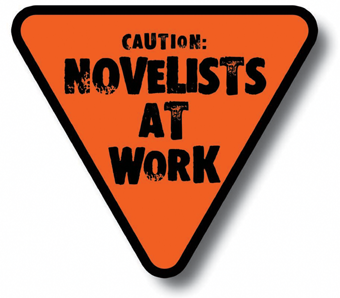 Triangular Orange Sign: Caution: Novelists at Work