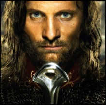 Close up of Viggo Mortensen as Aragorn from Lord of the Rings movie poster