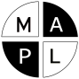 MAPL symbol, black M and L on white field, White A and P on black field