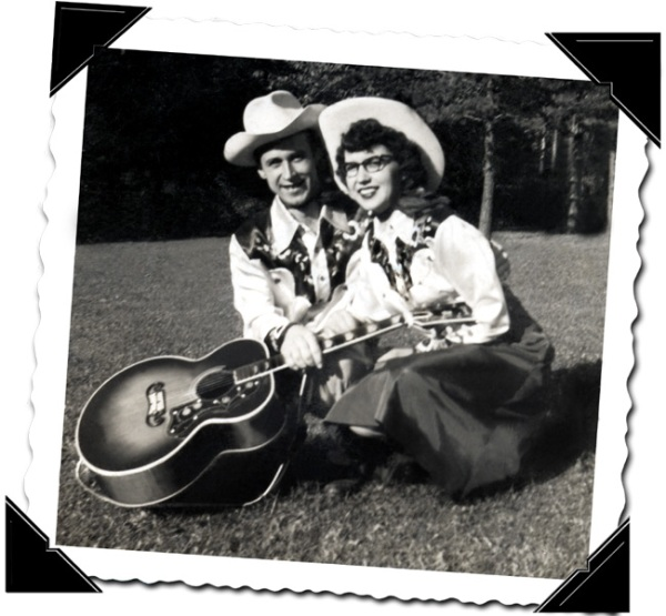 50s black and white publicity snap - wearing  cowboy star finery
