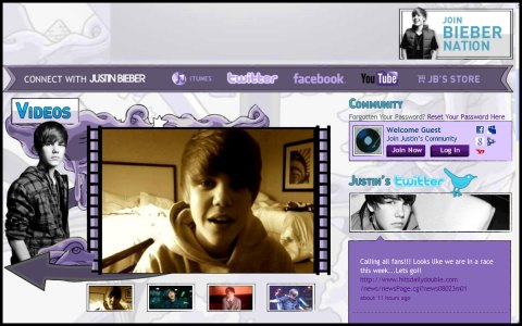 Justin Bieber's Web Page