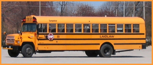Side view of Yellow Laidlaw school bus