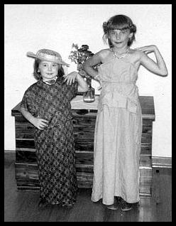 sisters playing dress-up