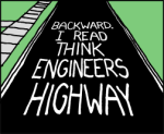 painted on road BACKWARD I READ THINK ENGINEERS HIGHWAY