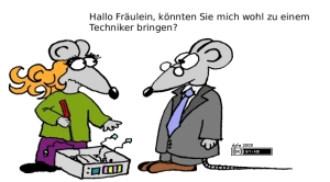 Boy Mouse says to Mouse girl who is fixing equipment, Hallo Fräulein, könnten Sie mich wohl zu einem Techniker bringen?