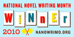National Novel Writing Month Winner 2010 - nanowrimo.org - Blog Badge on a robin's egg blue field