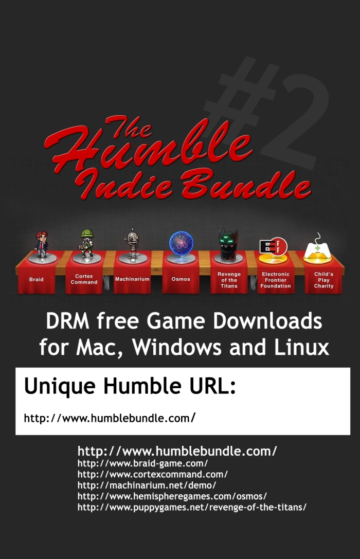 HUMBLE BUNDLE gift certificate cc by-nc-sa laurelrusswurm
