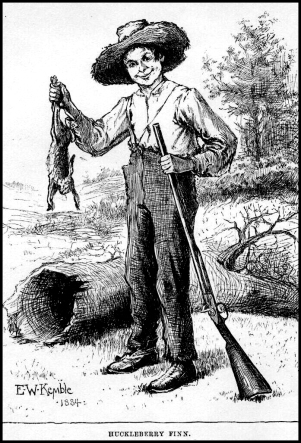 Huckleberry Finn frontispiece preserved by Project Gutenberg, illustration by E.W. Kemple 1884