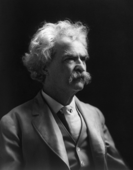 black & white stidio portrait of Mark Twain, 1909 photograph by A.F. Bradley