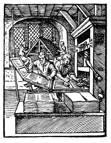 Printer in 1568 by Jost Amman (public domain)