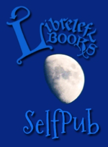The text Libreleft Books is above the gibbous moon and the text SelfPub below, on a blue field