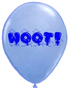 blue balloon that says WOOT
