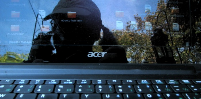 my reflection in my netbook with autumn foliage behind me