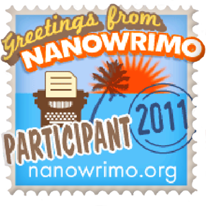 The badge looks rather like a 50's postcard mounted on a stamp that reads: Greetings From NaNoWriMo stamp