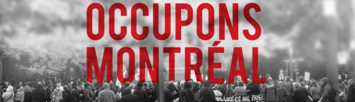 Black and white photo Text says OCCUPONS MONTREAL