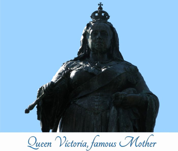 Statue of Victoria against a robins egg blue sky