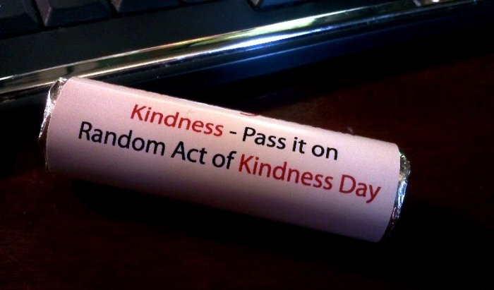 cylinder says Kindness - pass it on Random Act of Kindness Day