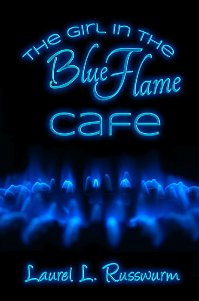 small cover art Neon blue text against a black background over blue gas flames