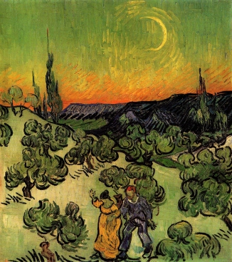 Vincent Van Gogh: Landscape with Couple Walking and Crescent Moon-1890(1)