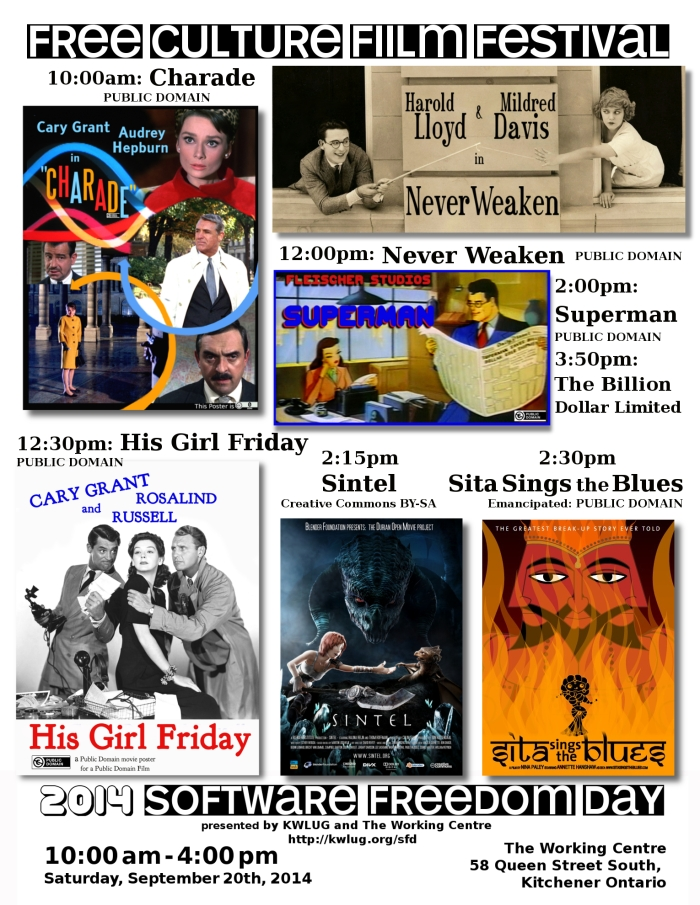 FREE CULTURE FILM FESTIVAL poster - Charade (1963), Never Weaken (1921), His Girl Friday (1940), Fleischer Superman (1941, 1942)m Sintel (2010) and Sita Sings The Blues (2008)