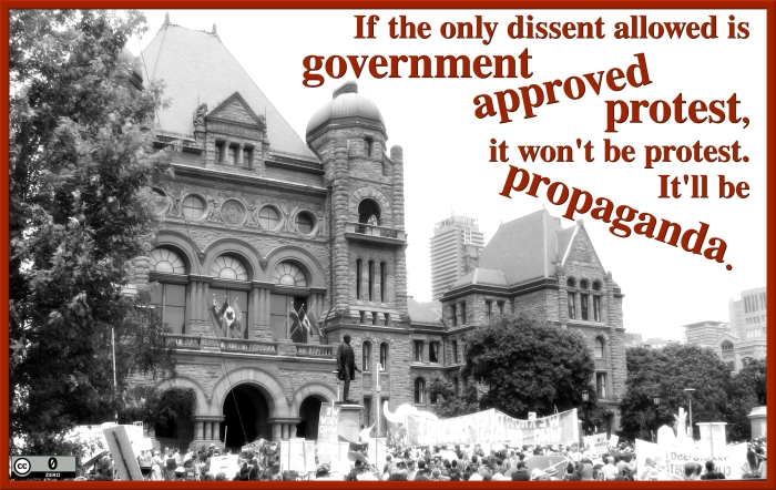 If the only dissent allowed is government approved protest, it won't be protest. It'll be propaganda